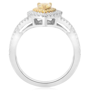 Pear-shaped Two Tone Diamond Ring