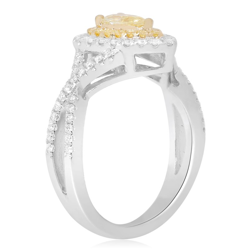 Roman & Jules Pear-shaped Two Tone Diamond Ring
