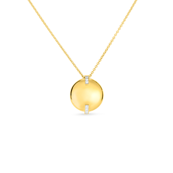 18Kt Gold Disc Pendant With Diamonds