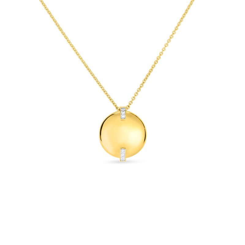 Roberto Coin 18Kt Gold Disc Pendant With Diamonds