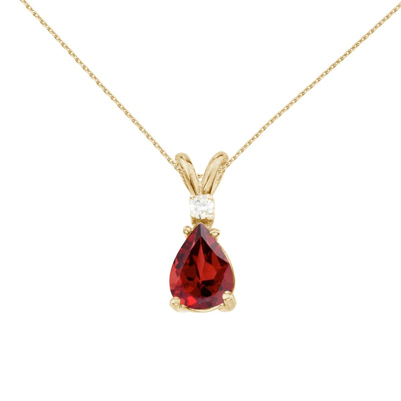 14k Yellow Gold Pear Shaped  Garnet and Diamond Pendant