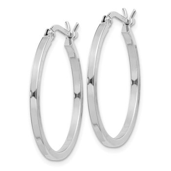 Sterling Silver Rhodium-plated 1.5x25mm Hoop Earrings