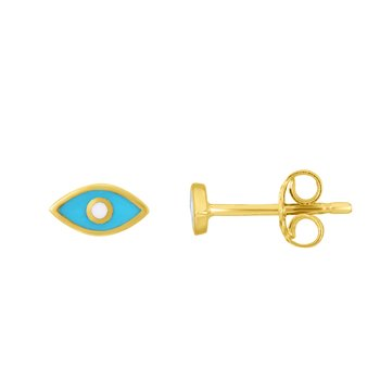 14K Gold Evil Eye Blue Enamel Stud Earring