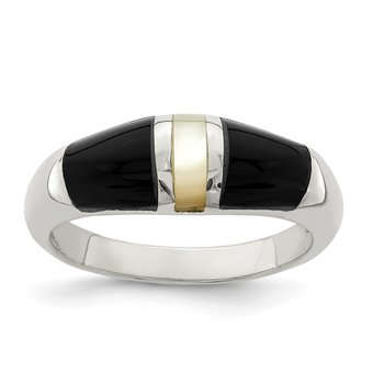 Sterling Silver Onyx & Mother of Pearl Ring
