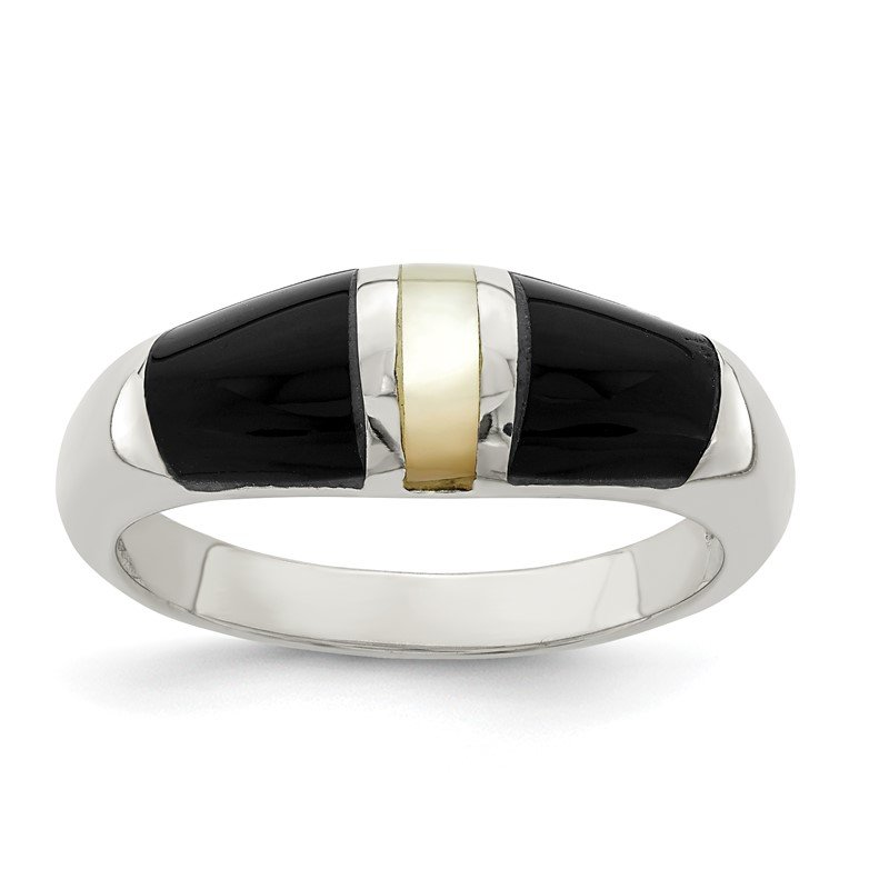 JC Sipe Essentials Sterling Silver Onyx & Mother of Pearl Ring