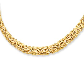 14K Gold Graduated Byzantine Necklace
