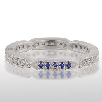 Ladie's White Gold Blue Sapphire and Diamond Ring