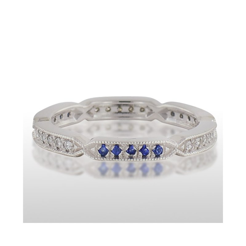 Novell Ladie's White Gold Blue Sapphire and Diamond Ring