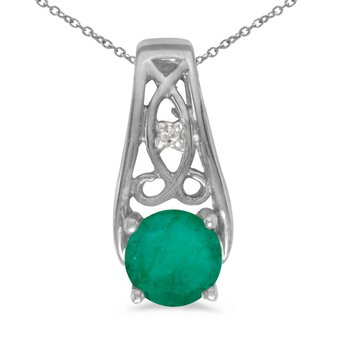 10k White Gold Round Emerald And Diamond Pendant