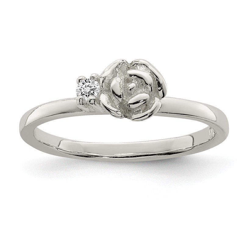 Arizona Diamond Center Collection Sterling Silver Clear CZ Rose Kid's Ring