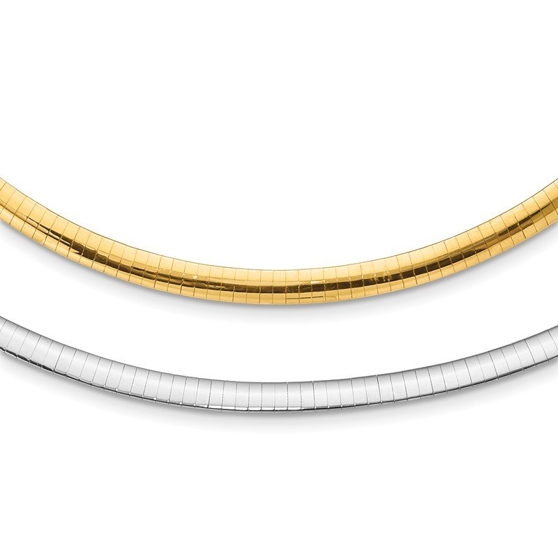 Quality Gold 14k 5mm Reversible White & Yellow Domed Omega Necklace