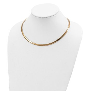 14k 5mm Reversible White & Yellow Domed Omega Necklace