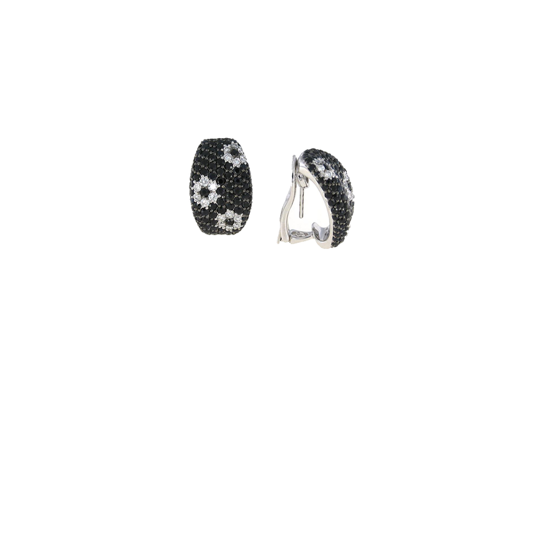Roberto Coin 18Kt Gold White Diamond And Black Sapphire Earrings