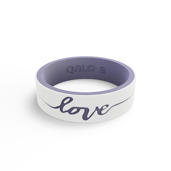 Women's Strata White & Lilac Love Silicone Ring