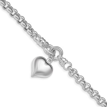 Sterling Silver Polished Rolo w/ Dangle Heart Charm Bracelet