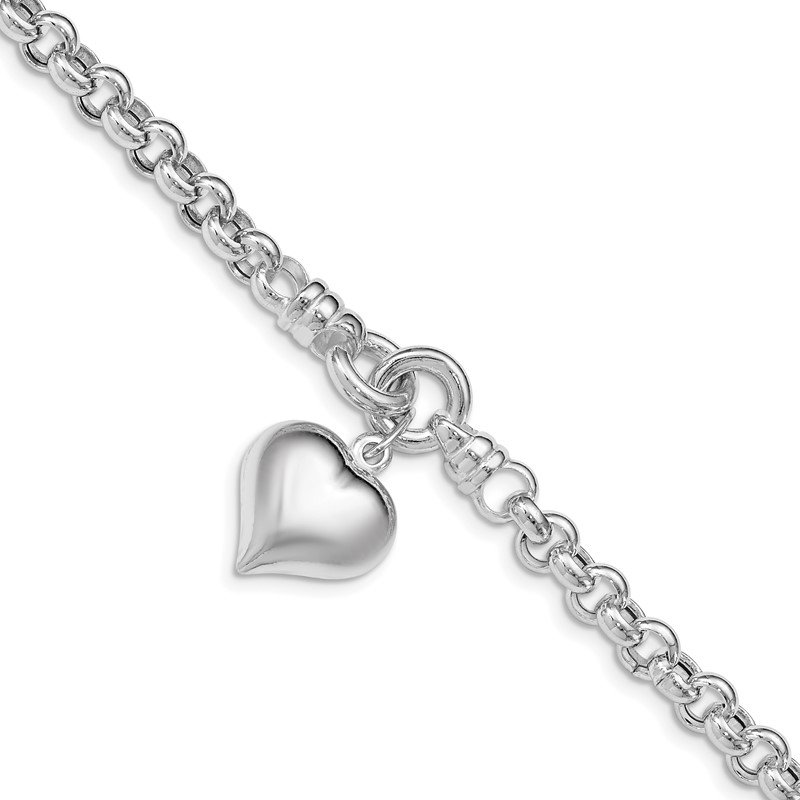 Quality Gold Sterling Silver Polished Rolo w/ Dangle Heart Charm Bracelet