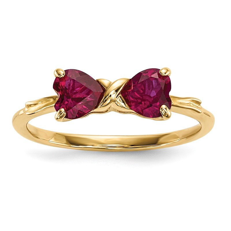 Quality Gold 14k Gold Polished Created Ruby Bow Ring