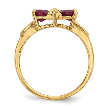 14k Gold Polished Created Ruby Bow Ring