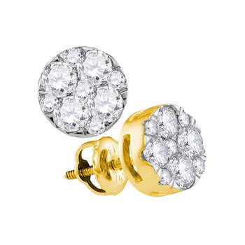 14kt Yellow Gold Womens Round Diamond Flower Cluster Earrings 1.00 Cttw