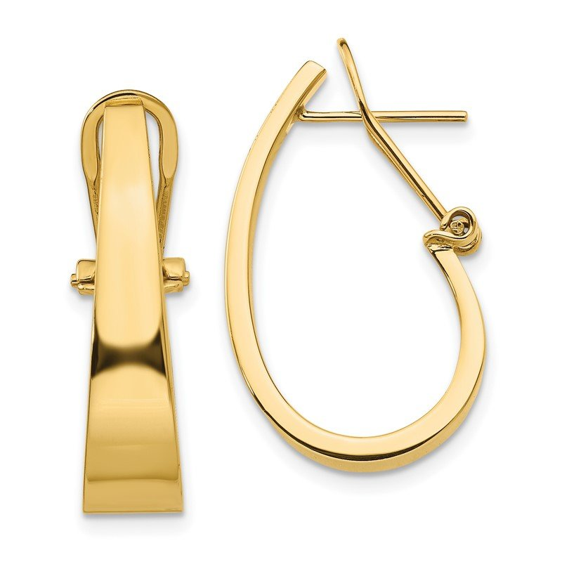 Quality Gold 14k Polished J-Hoop Click-in Back Post Earrings