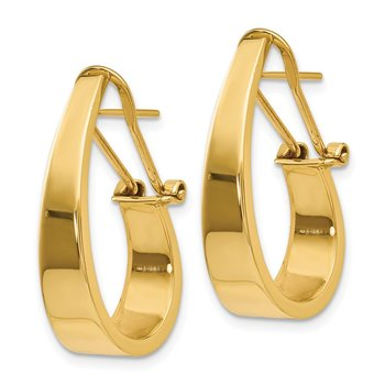 14k Polished J-Hoop Click-in Back Post Earrings