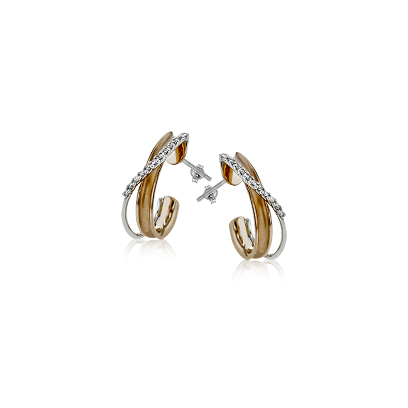 Simon G Simon G 18kt white and rose gold diamond earrings, 22=0.14ct. Available at our Halifax store.