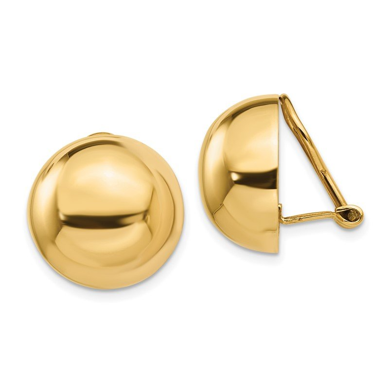 Quality Gold 14k Omega Clip 16mm Half Ball Non-pierced Earrings
