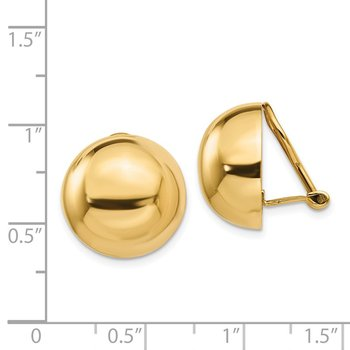 14k Omega Clip 16mm Half Ball Non-pierced Earrings