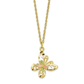 10k Tri-color Black Hills Gold Butterfly Necklace