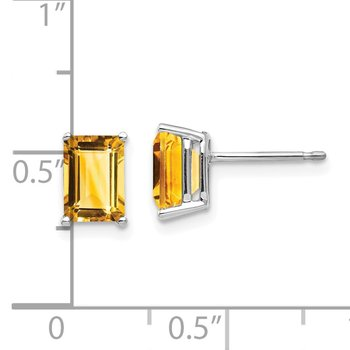 14k White Gold 7x5mm Emerald Cut Citrine Earrings