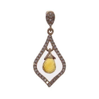 14k Rose Gold Semi Broilette Citrine Pendant