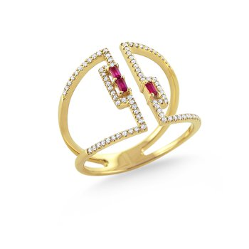 Ruby & Diamond Mosaic Ring Set in 14 Kt. Gold