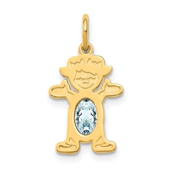 14K Girl 6x4 Oval Genuine Aquamarine-March