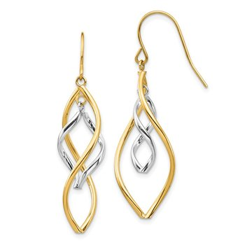 14K Two-tone Fancy Twisted Dangle Earrings