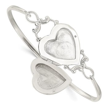 Sterling Silver Heart 22mm Locket Flexible Bangle Bracelet