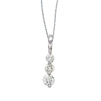 14k White Gold 0.50 Ct Three Stone Diamond Pendant
