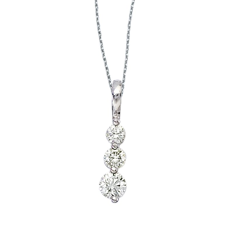 Color Merchants 14k White Gold 0.50 Ct Three Stone Diamond Pendant