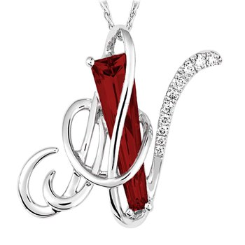 Initial Pendant - Chatham Created Ruby