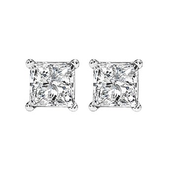14K P/Cut Diamond Studs 1 ctw P1