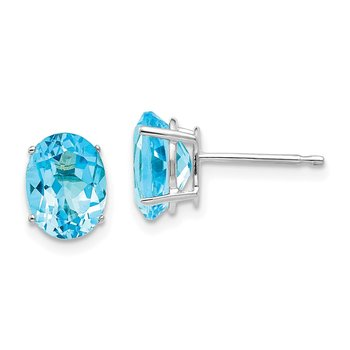 14k White Gold 8x6mm Oval Blue Topaz Earrings
