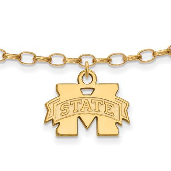 Gold-Plated Sterling Silver Mississippi State University NCAA Bracelet