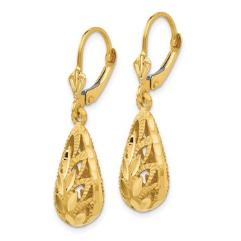 14k Polished and Diamond-Cut Dangle Leverback Earrings