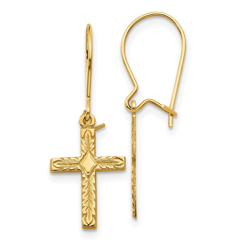 Quality Gold 14k Polished & Satin Cross Earrings