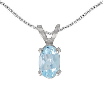 14k White Gold Oval Aquamarine Pendant
