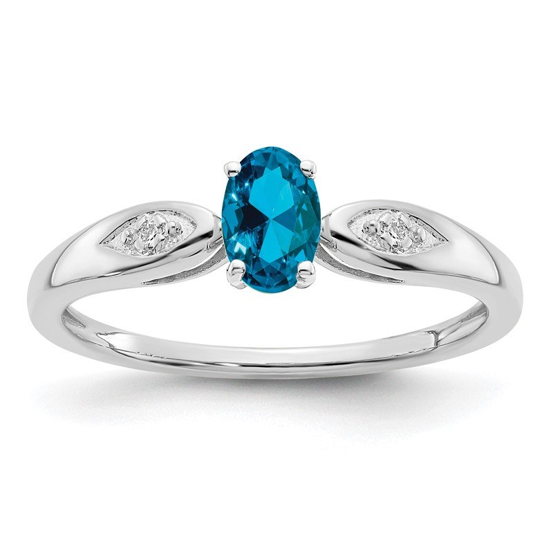Quality Gold 14k White Gold Blue Topaz and Diamond Ring