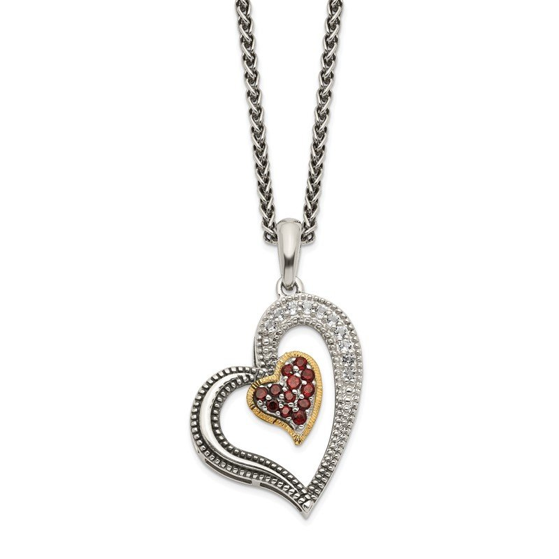 Quality Gold Sterling Silver w/14k Garnet & White Topaz Heart Necklace