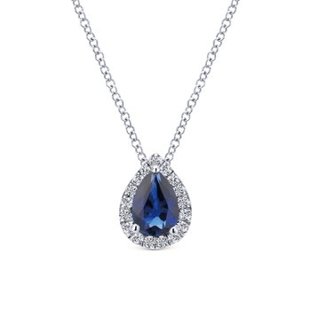 14k White Gold Pear Shaped Sapphire Diamond Halo Necklace