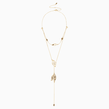 Graceful Bloom Detachable Necklace, Brown, Gold-tone plated