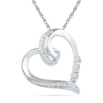 0.03 CTTW Sterling Silver with Diamond Heart Pendant