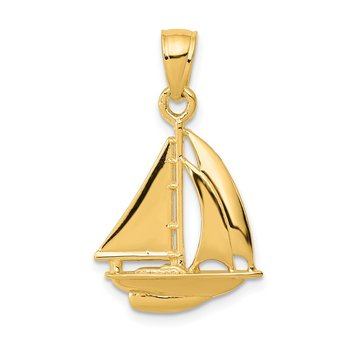 14k Polished Open-Backed Sailboat Pendant